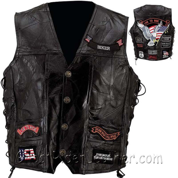 Patchwork Leather Vest - Men's - Big Sizes - Concealed Carry - 14 Patches - GFVBIK144X-7X-BN