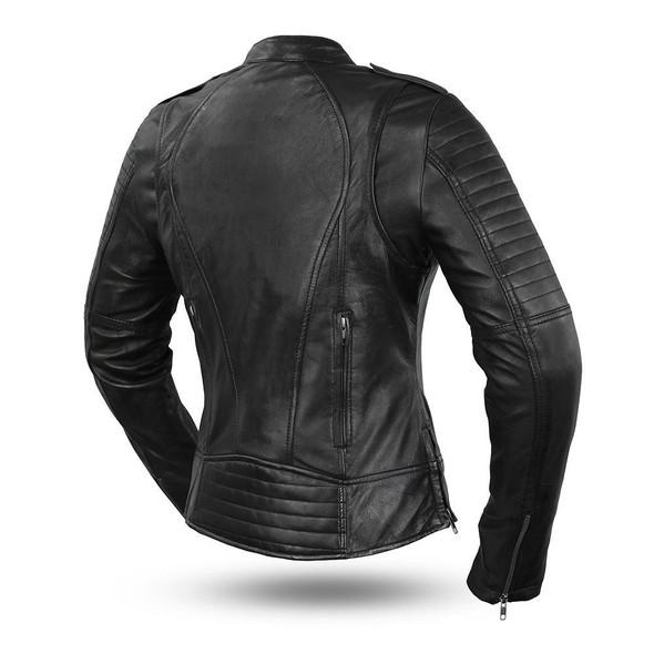Biker - Women's Leather Motorcycle Jacket With Vents - SKU FIL104SDMZ