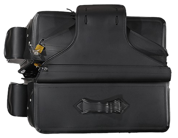 Black PVC Motorcycle Slanted Saddlebags with Studs and Pockets - SKU SD4085-PV-DL