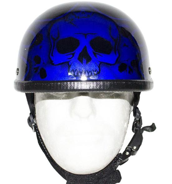 Novelty Motorcycle Helmet - Gloss Blue - Burning Skull - Shorty - H401-D4-BLUE-DL