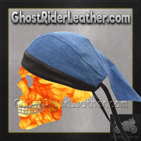 Blue Denim Skull Cap - Black Leather Trim - AL3398-AL