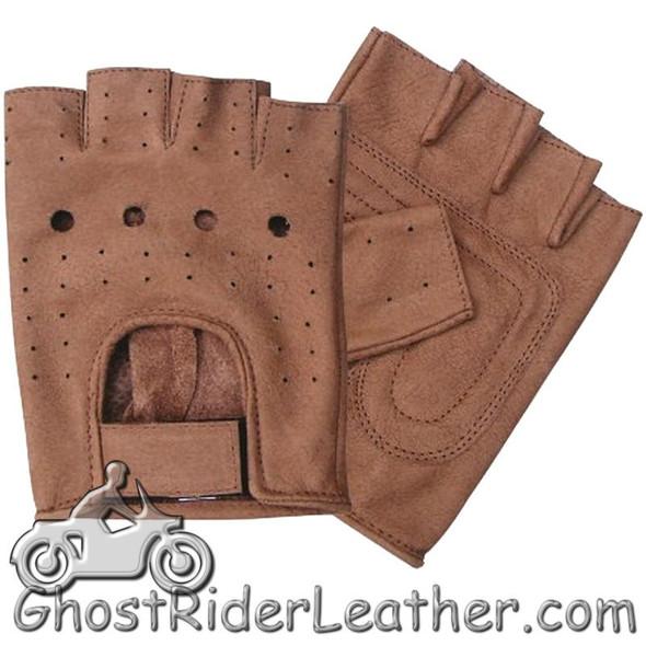 Brown Leather Fingerless Motorcycle Riding Gloves - SKU AL3010-AL