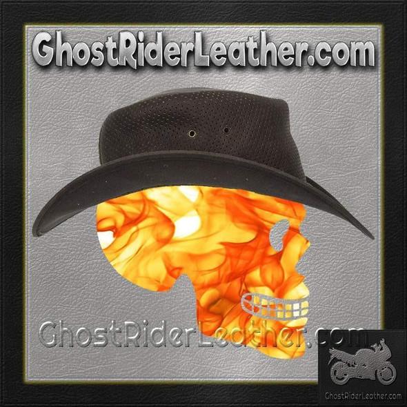 Brown Leather Gambler Hat / SKU GRL-HAT11-11-DL