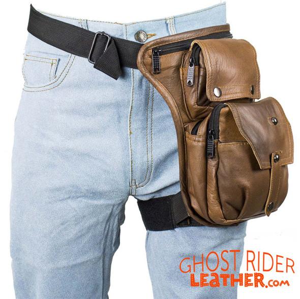 Leather Thigh Bag - Gun Pocket - Brown - Motorcycle - AC1025-BRN-DL