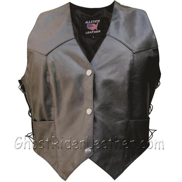 Classic Style Women's Leather Vest with Side Laces - SKU AL2301-AL