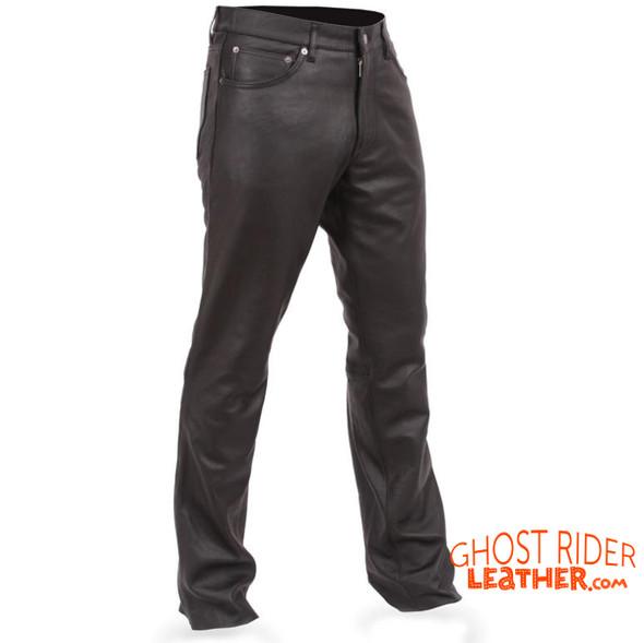 Men's Leather Pants - Five Pocket Jean Styling - Commander - FIM833CFD-FM