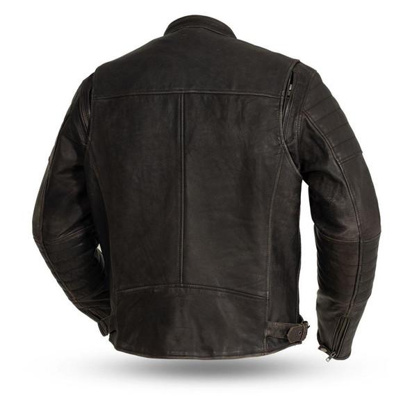 Commuter - Men's Brown Leather Motorcycle Jacket - SKU FIM277CVZ-FM