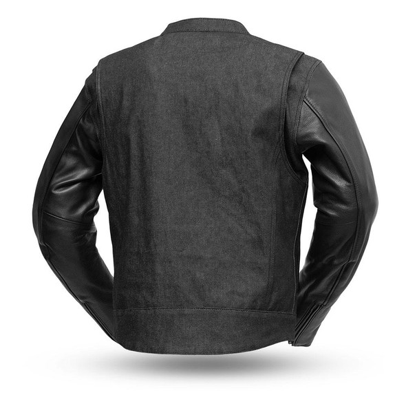 Denim and Leather Motorcycle Jacket - Men's - Up To 5XL - Cutlass - FIM266DML-FM