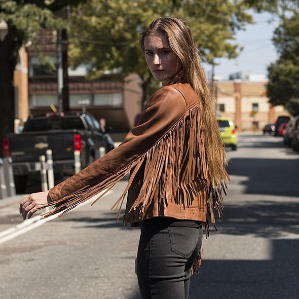 Daisy - Women's Western Leather Jacket With Fringe - Tassels - Choice of Colors - WBL1503