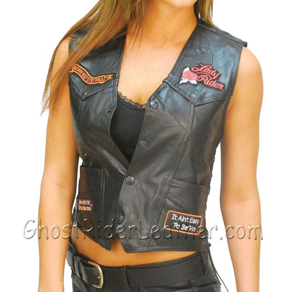 Diamond Plate Ladies Patchwork Leather Vest with Many Patches - SKU GFVLADY-BF