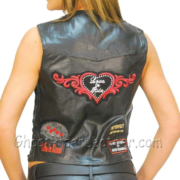 Patchwork Leather Vest - Women's - Many Patches - GFVLADY-BF
