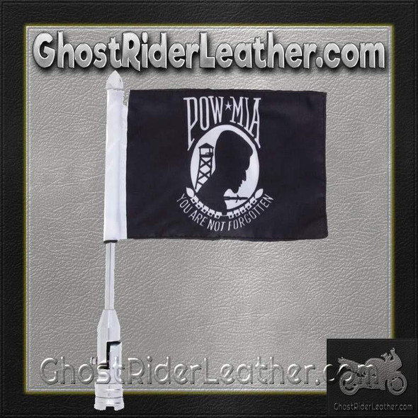 Diamond Plate Motorcycle Flagpole Mount with POW MIA Flag - BKFLAGPM-DS