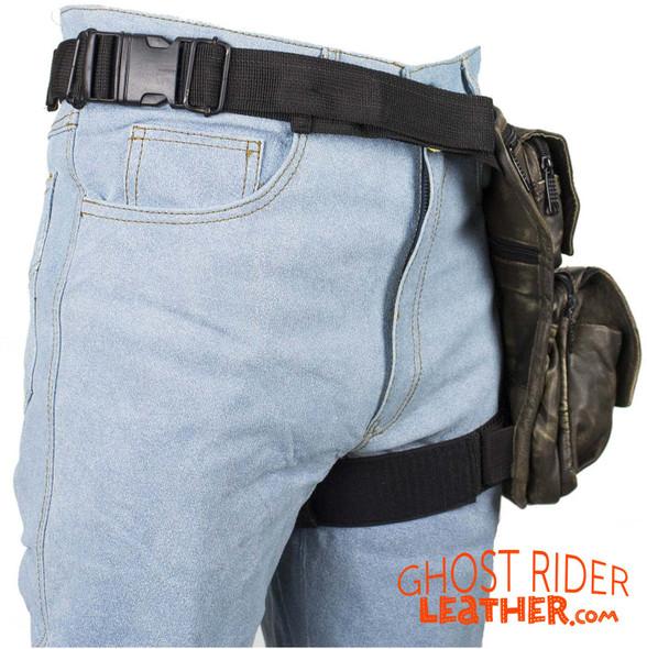 Leather Thigh Bag - Gun Pocket - Distressed Brown - Motorcycle - AC1025-12-DL