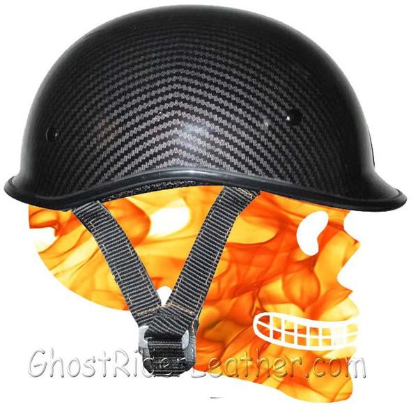 DOT Motorcycle Helmet - Jockey Polo - Carbon Fiber Look - Half Helmet - 102CL-HI