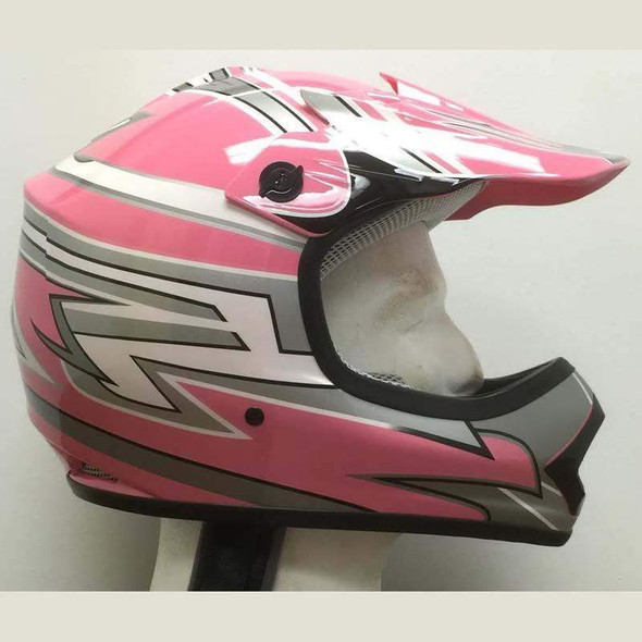 DOT Kids ATV Helmet - Dirt Bike - Motocross - Pink Graphics - DOTATVKIDS-PINKMX-HI