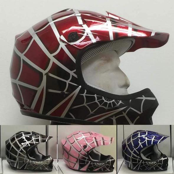 DOT Kids ATV Helmet - Dirt Bike - Motocross - Pink - Black - Blue - Red - DOTATVKIDSSPIDER-HI
