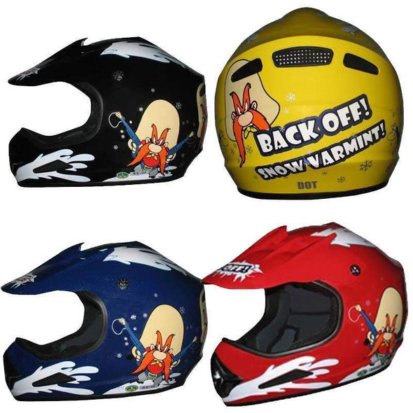 DOT Kids ATV Helmet - Dirt Bike - Snow Machine - Back Off - Color Choice - DOTATVKIDSBACKOFF-HI. Yosemite Sam Motocross Helmet for Youth.