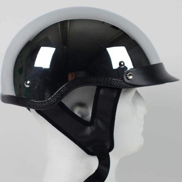 DOT Motorcycle Helmet - Chrome - Shorty - Visor - 1C-HI