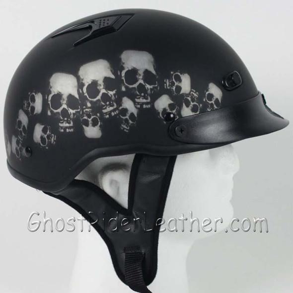 DOT Vented Skull Pile Flat Black Shorty Motorcycle Helmet - SKU GRL-1VSP-HI