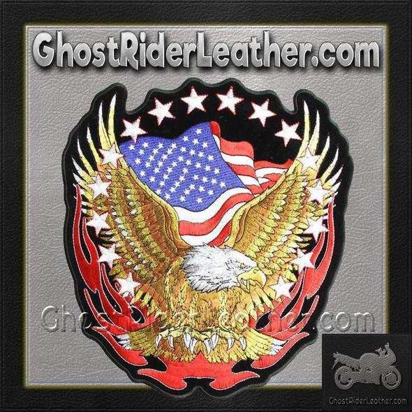 Eagle with American Flag and Stars Vest Patch - SKU GRL-PPA1427-HI