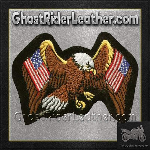 Eagle with Two American Flags Patch / SKU GRL-PAT-A5-DL