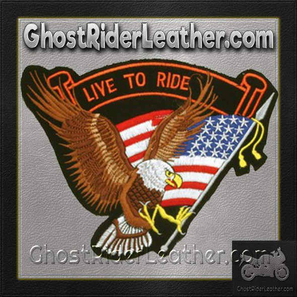 Eagle with USA Flag and Live To Ride Banner Patch / SKU GRL-PAT-B108-DL
