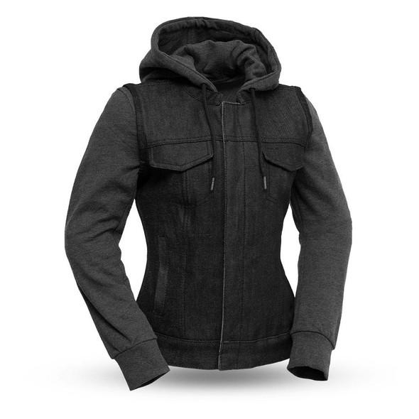 Essex - Women's Denim Motorcycle Jacket - SKU GRL-FIL517DMH-FM