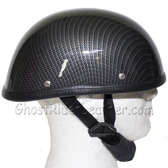 Novelty Motorcycle Helmet - Faux Carbon Fiber - Shorty - H401-CF-DL
