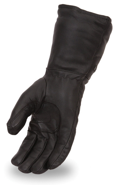 Men's Cold Weather Gauntlet Leather Motorcycle Gloves - SKU FI120GL-FM