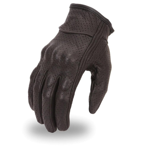 Men's Fully Perforated Leather Motorcycle Glove With Rubberized Knuckles - SKU FI134GL-FM