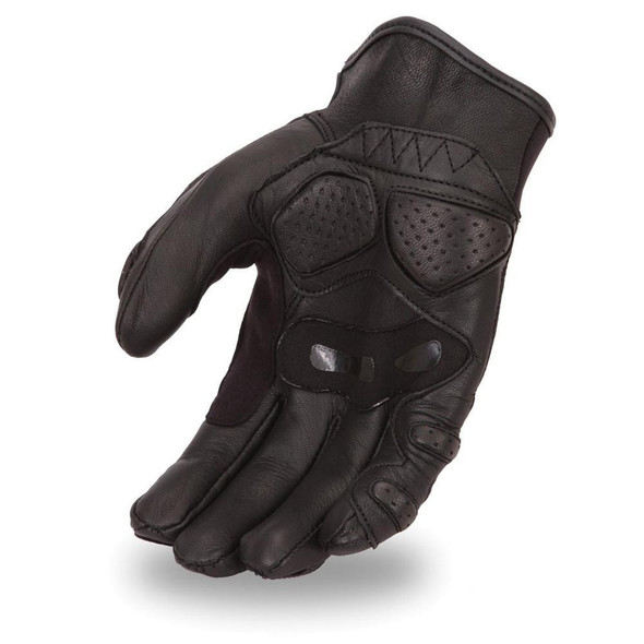 Men's Crossover Leather Racing Gloves With Padded Fingers and Palm - FI151GL-FM.  FEATURES:  Made of premium leather. Padded fingers and palm for riding comfort. Double ply suede grip panels. Adjustable wrist strap. Free shipping.