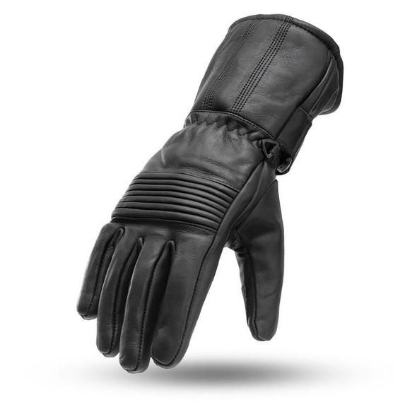 Men's Leather Gauntlet Gloves With Elasticized Knuckle - SKU FI188-FM