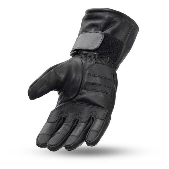 Leather Motorcycle Gloves - Men's - Gauntlet - Elasticized Knuckle - Throttle -FI188-FM