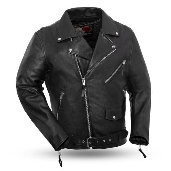 Men's Black Leather Motorcycle Jacket - Armor Pockets - Fillmore - FIM208CDLZ-FM