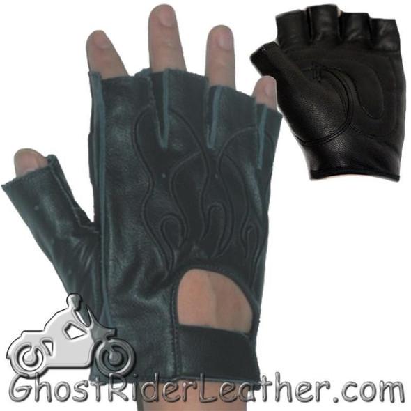 Fingerless Biker Leather Motorcycle Gloves With Black Flames - SKU GL2015-DL