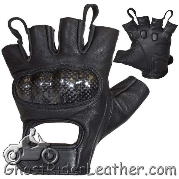 Fingerless Biker Naked Leather Motorcycle Gloves With Knuckle Protection - SKU GLZ86-11N-DL