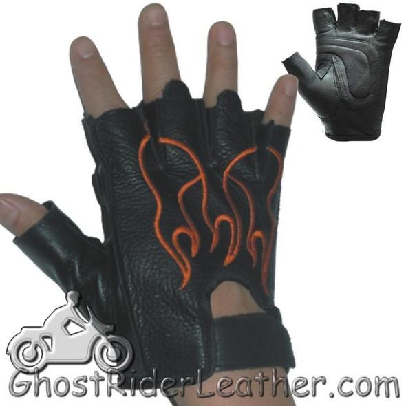 Fingerless Biker Leather Motorcycle Gloves With Orange Flames - SKU GL2017-DL