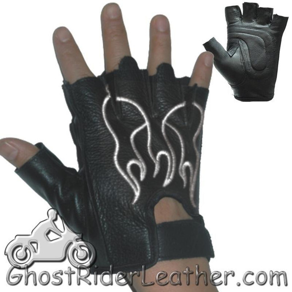 Fingerless Biker Leather Motorcycle Gloves With White Flames - SKU GL2018-DL