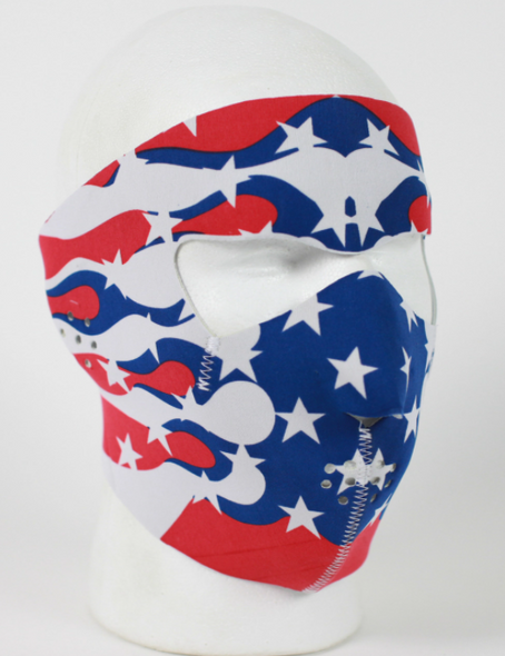 Full Face Neoprene Face Mask with American Flag Flames - Motorcycle Mask - FMF04-MSK-US-FLAME-HI