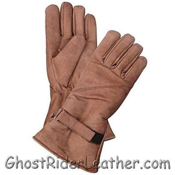 Leather Gloves  - Men's - Brown - Gauntlet - Motorcycle Riding - AL3053-AL