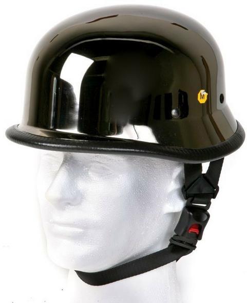 Novelty Motorcycle Helmet - Black Chrome - German - HC102-01-DL