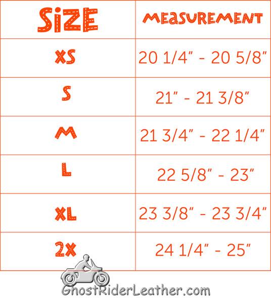 Novelty Motorcycle Helmet - Black Chrome - German - HC102-01-DL Size Chart