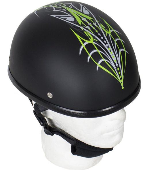 Green Machine Tribal Design Novelty Motorcycle Helmet - SKU H501-D6-GREEN-DL