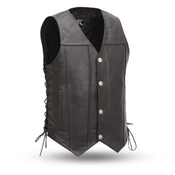 Gun Slinger - Men's Leather Western Vest  - Concealed Carry - SKU FMM612BSF-FM