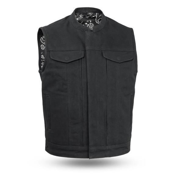 Highland V2 - Men's Motorcycle Canvas Vest - SKU FIM692CNVS-FM
