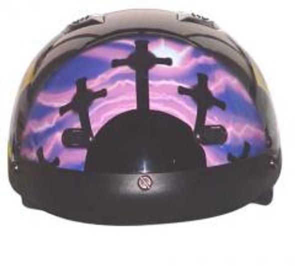 His and Hers DOT Christian Cross Motorcycle Shorty Helmet - SKU GRL-1VPC-HH-HI