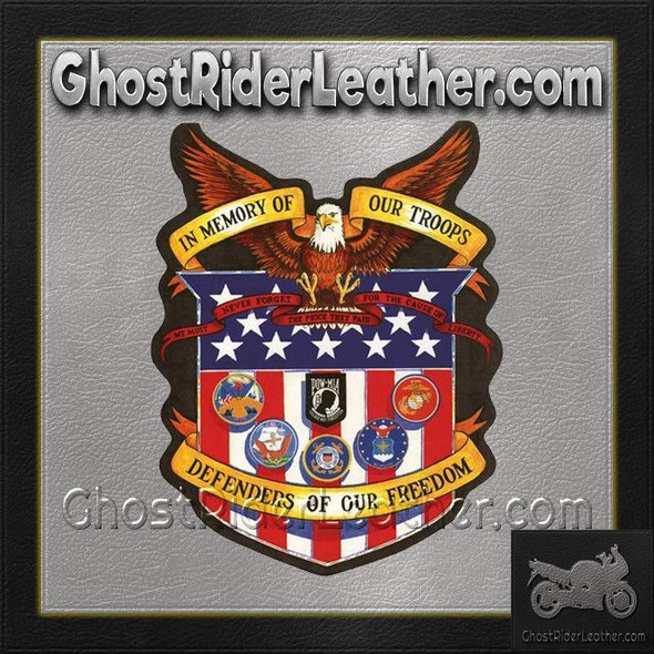 In Memory of Our Troops Patch - Military Veteran - USA Flag - POW MIA - PAT-A43-DL