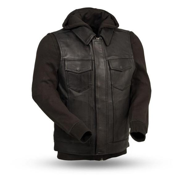 Kent - Men's Motorcycle Leather Vest with Hoodie Sweatshirt - SKU FIM697CDDH-FM