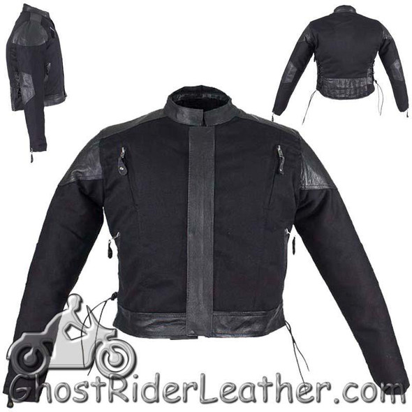 Kids Black Denim and Leather Motorcycle Jacket with Side Laces - SKU GRL-KD345-DL