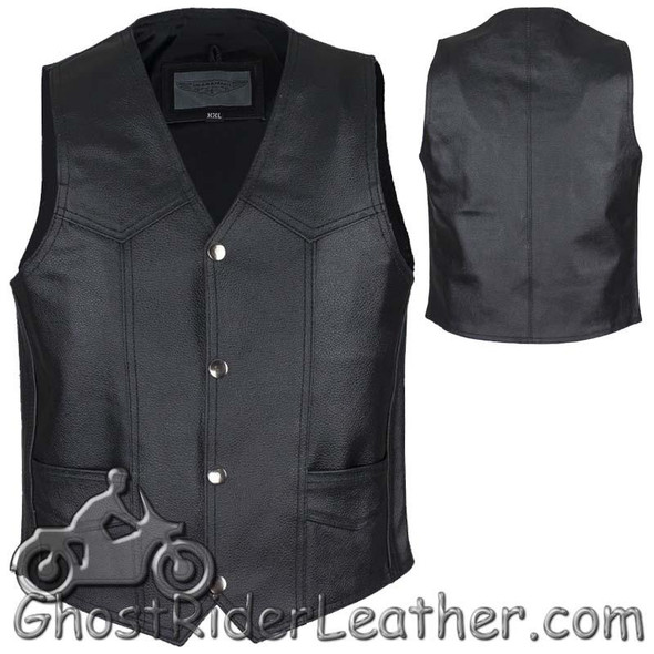 Kids Black Leather Motorcycle Vest with Plain Sides - SKU KD390-DL